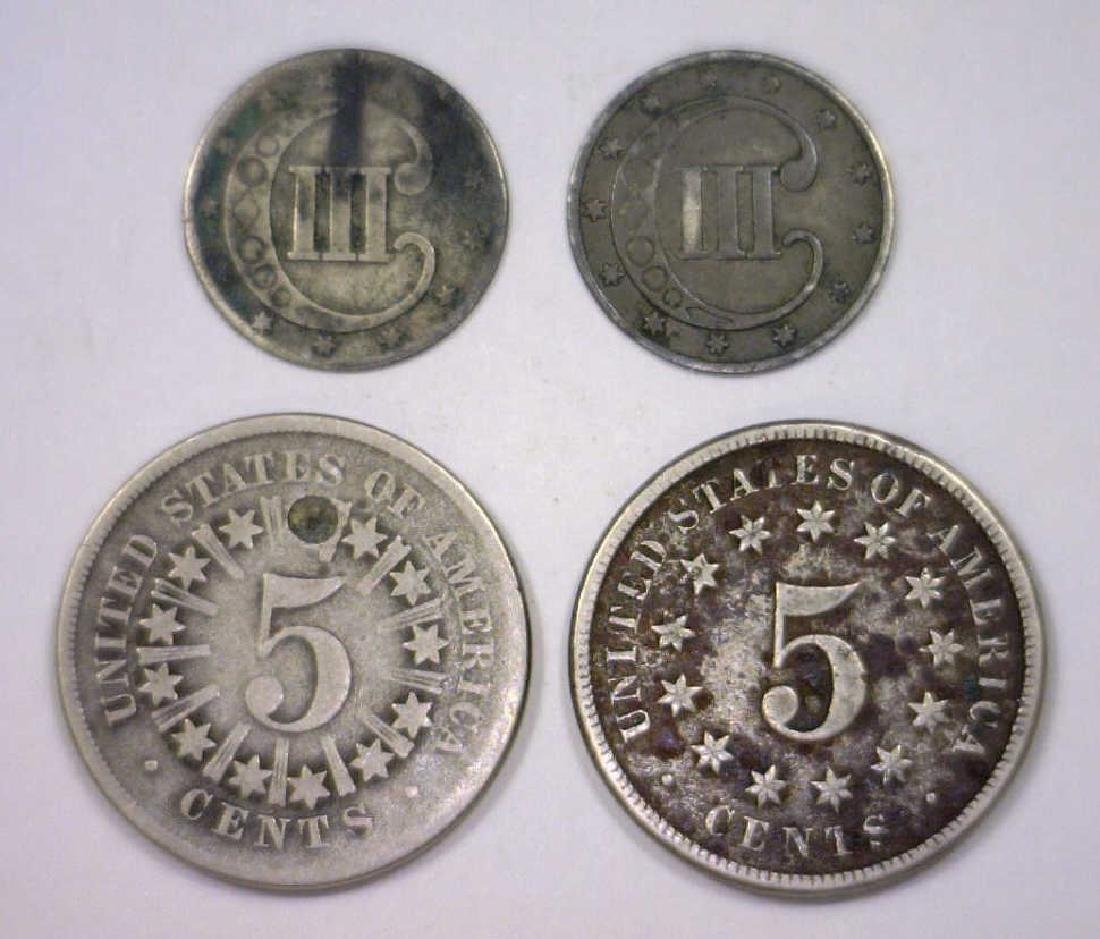 Lot of 4 Three Cent Silver & Shield Nickels - 2