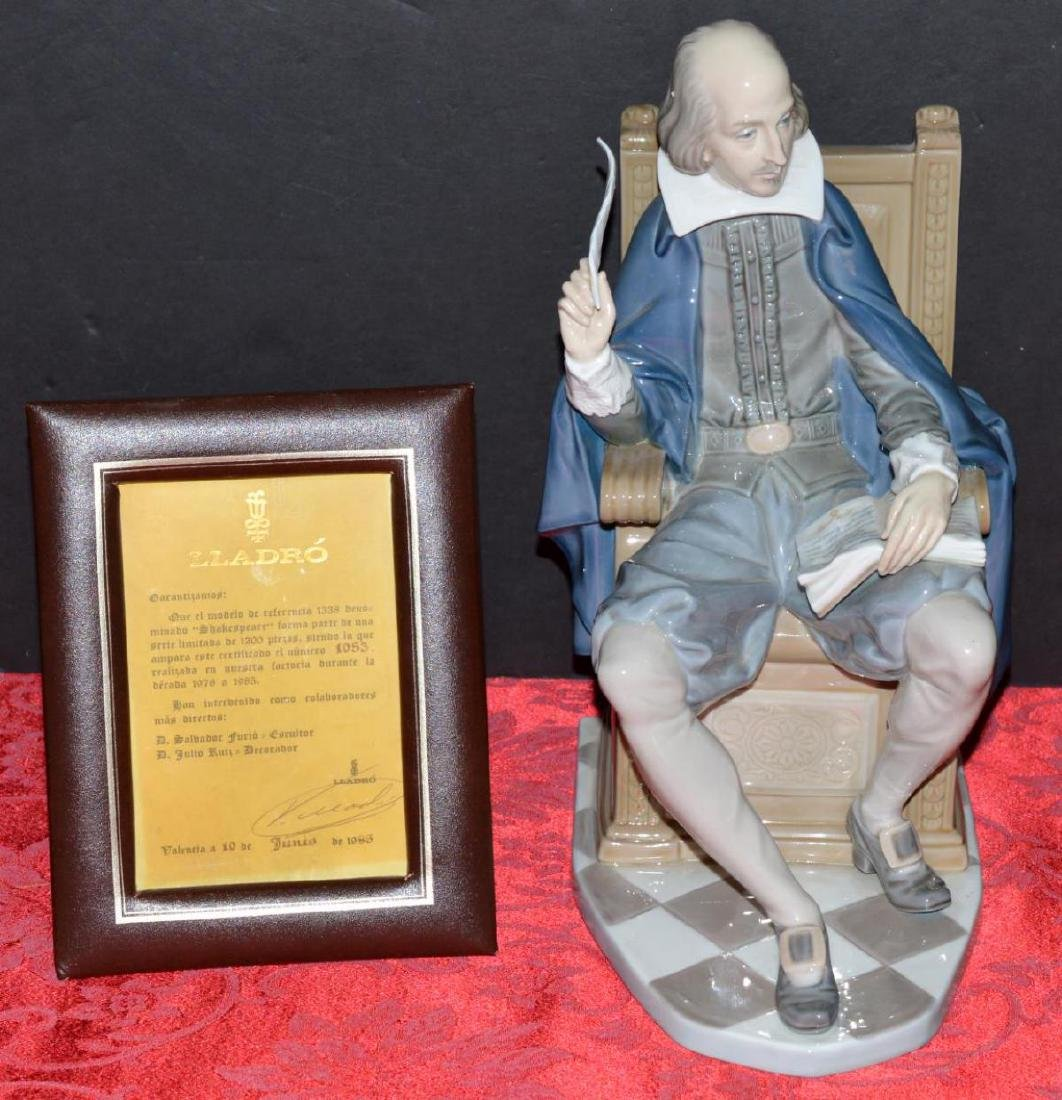 LLadro William Shakespeare Figure #1338 with COA