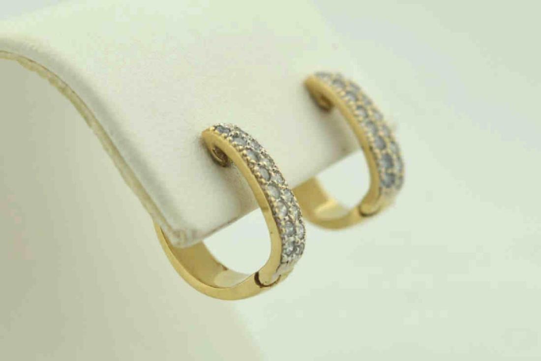 14kt yellow gold huggie hoop earrings - 2