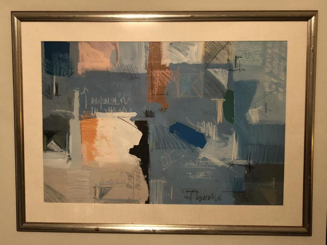 Large Framed Colorful Modern Abstract Lithograph