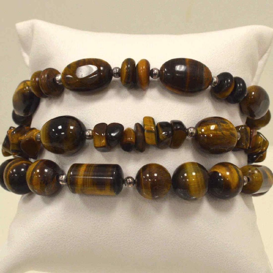 Lot of tiger's eye bead bracelets