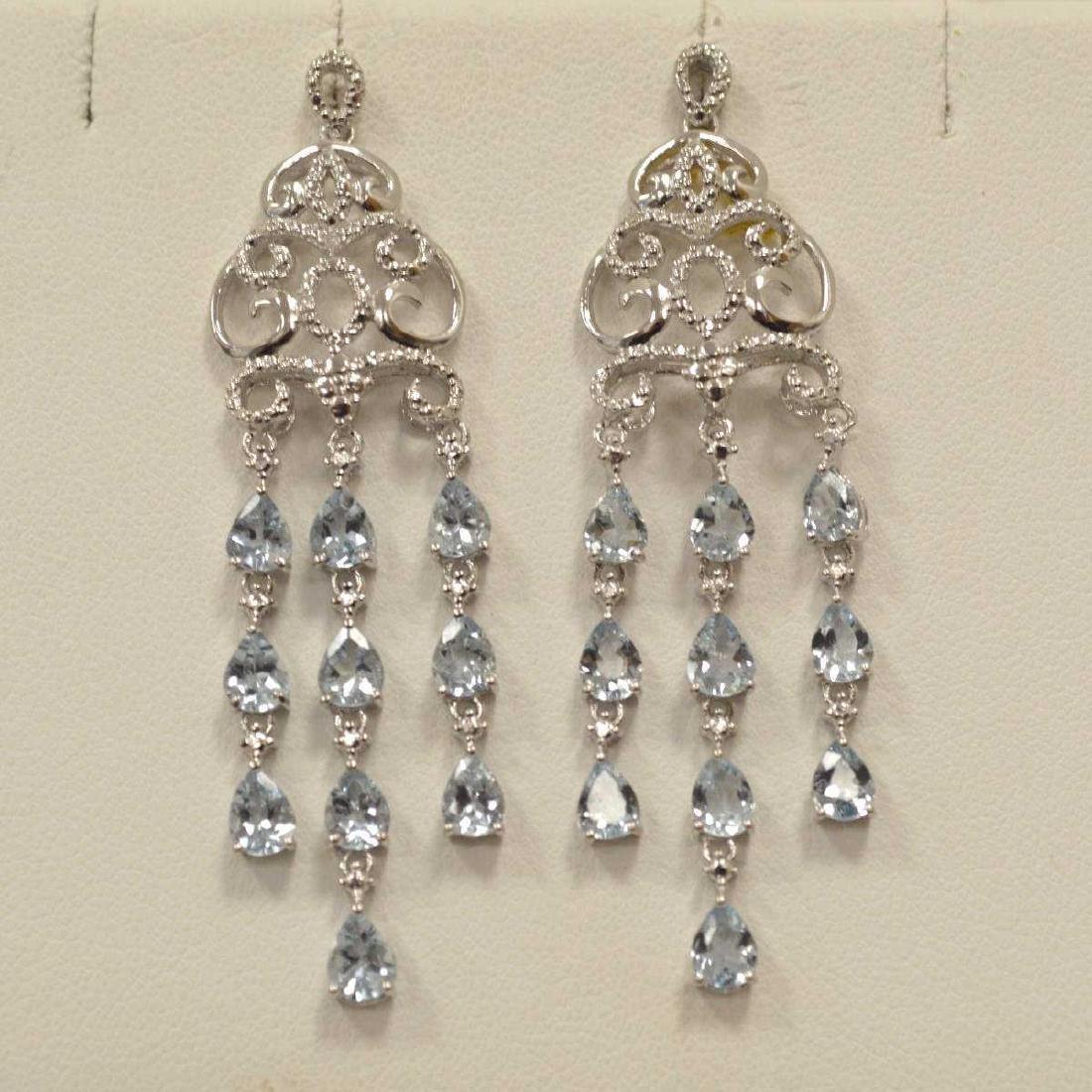 Sterling Silver aquamarine drop earrings - 2