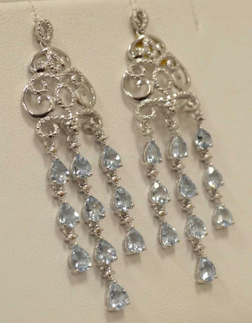 Sterling Silver aquamarine drop earrings - 3