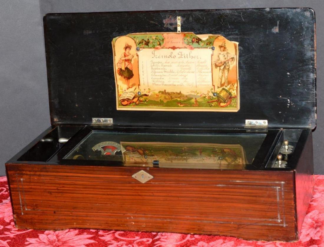 Antique Swiss Cylinder Wood 8 Tune Music Box - Feb 02, 2019