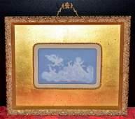 Framed Sungott Limoges Blue  White Cameo