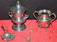 Lot of Silver Plated Urns and Spoons