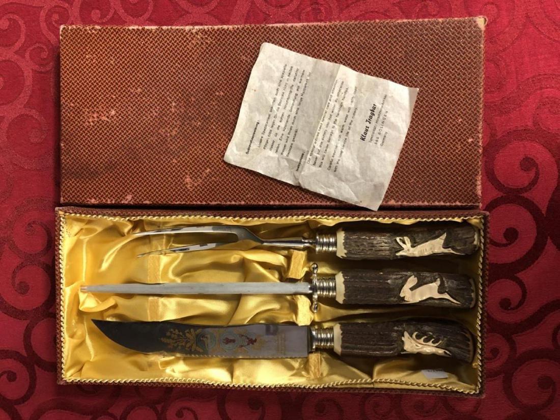 Vintage Boxed German Carving Set Klaus Tragbar