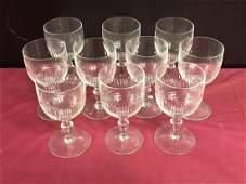 10 Baccarat Clear Cut Crystal Stemware Renaissance