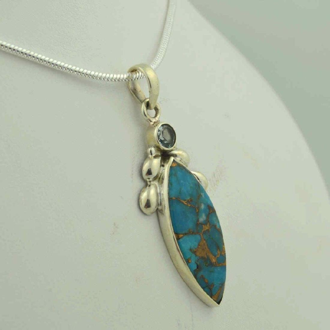 Sterling silver turquoise pendant - 2