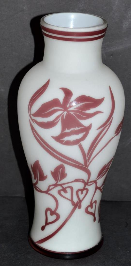 Glass Vase Burgundy Cut to White Floral Design