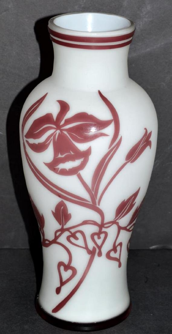 Glass Vase Burgundy Cut to White Floral Design - 2