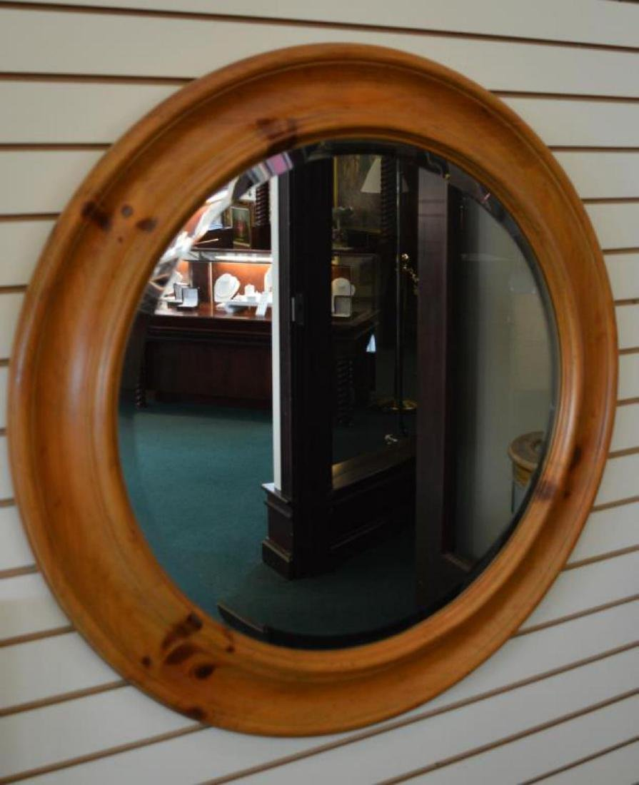 Large Ploughed Frame Beveled Edge Round Mirror