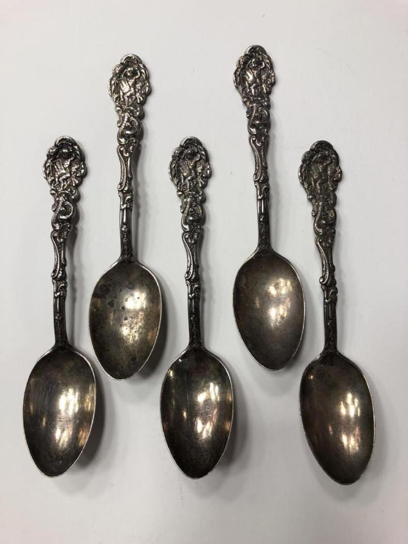Lot of 5 Beautiful Baby Cherub Sterling Spoons