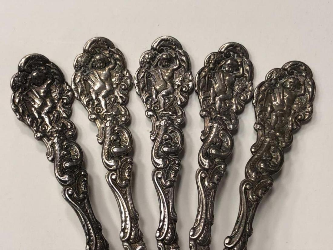 Lot of 5 Beautiful Baby Cherub Sterling Spoons - 3