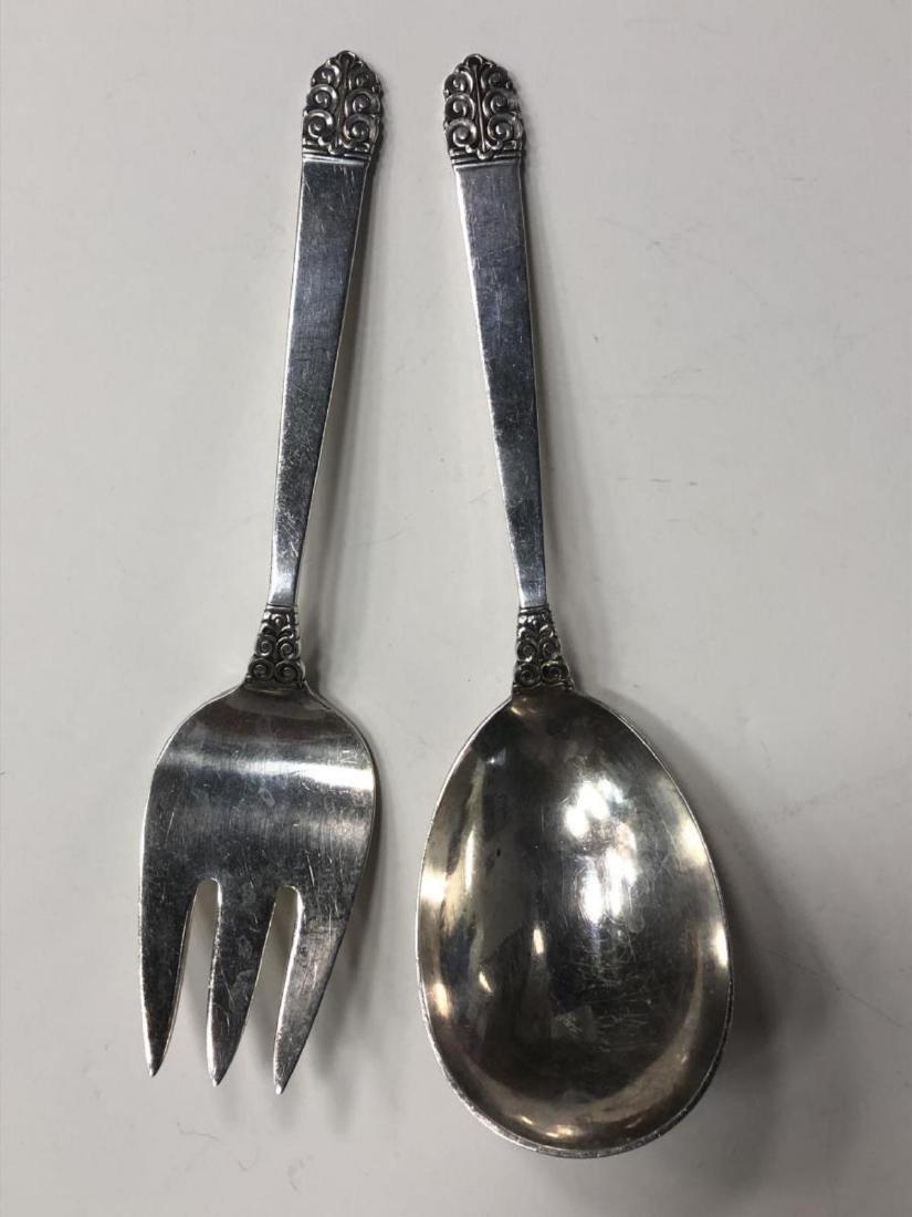 Northern Lights Sterling Salad Serving Fork Spoon