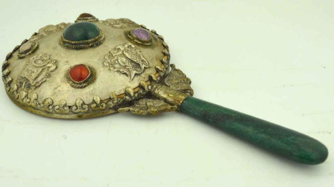 Hand Mirror with Colored Stones
