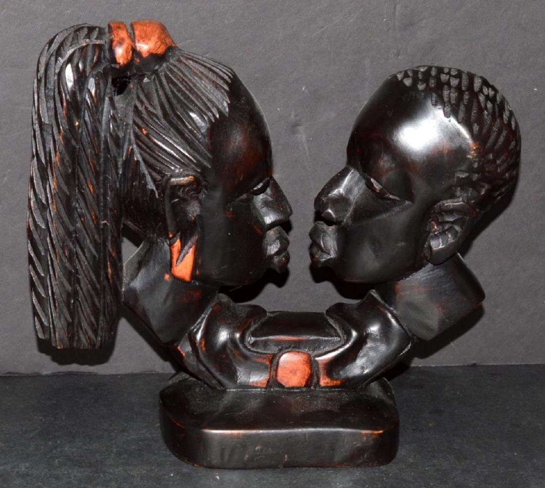 Hand Carved Wood Double Bust Man & Woman