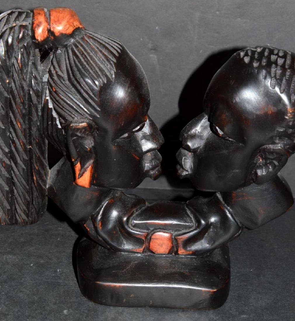Hand Carved Wood Double Bust Man & Woman - 3