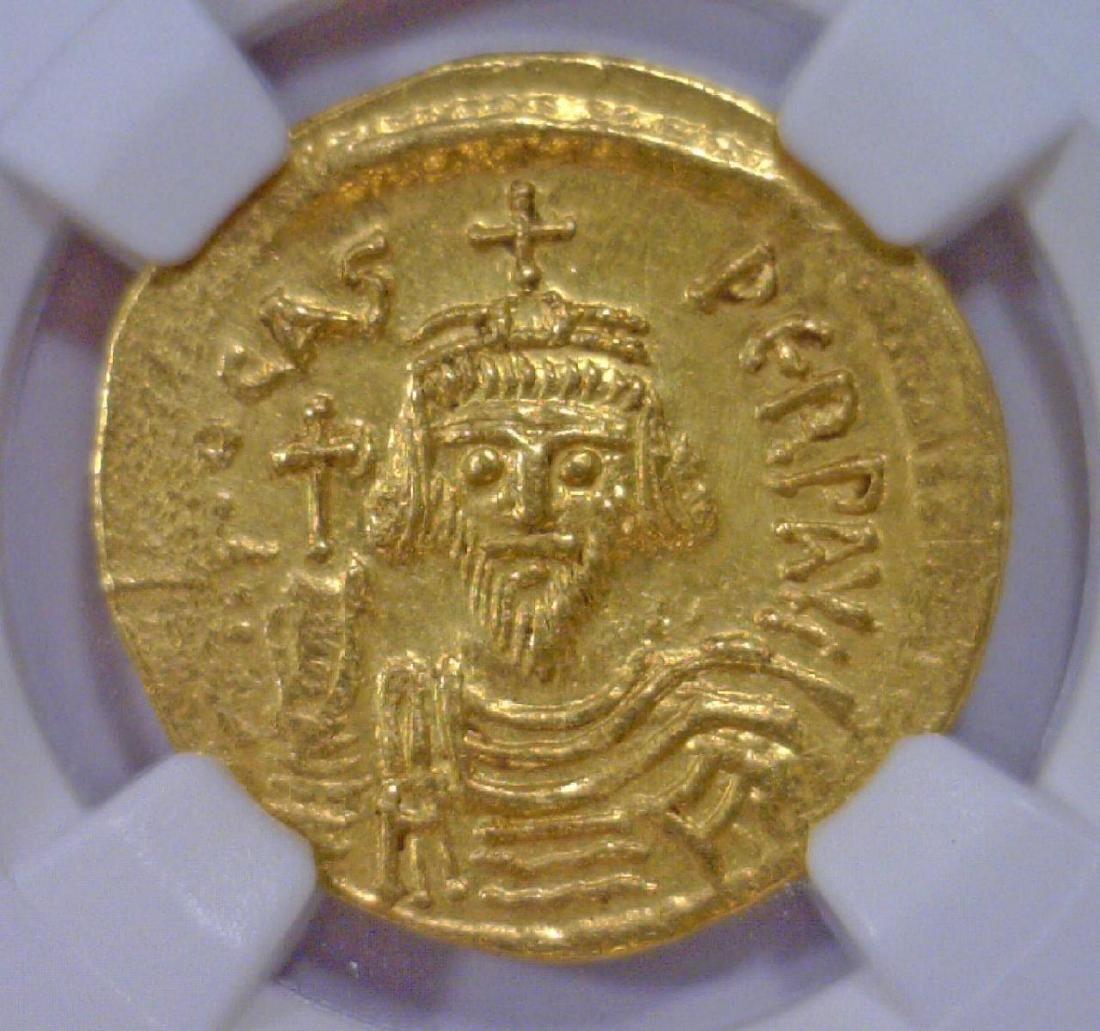 Byzantine Phocas Gold AV Solidus NGC AU