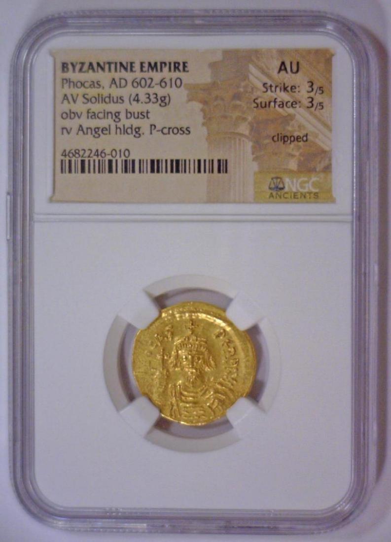 Byzantine Phocas Gold AV Solidus NGC AU - 2