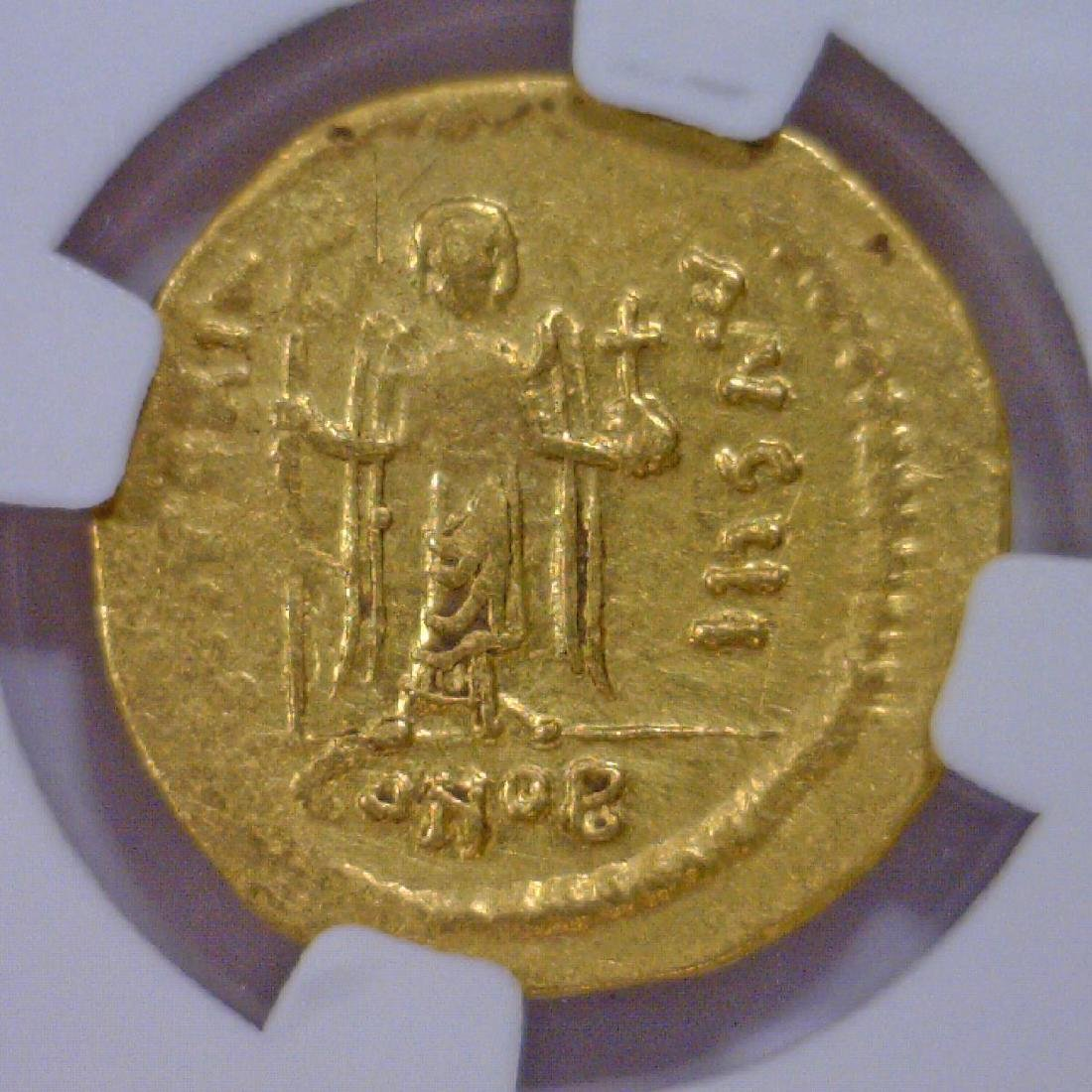 Byzantine Phocas Gold AV Solidus NGC AU - 3