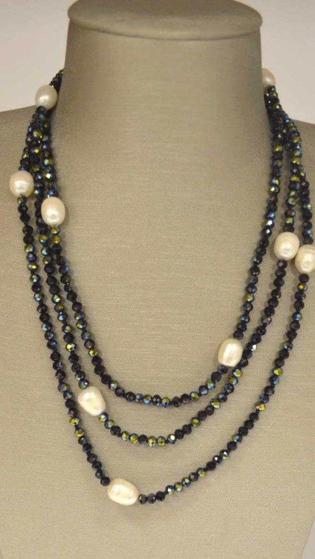 Freshwater pearl and stone bead necklace