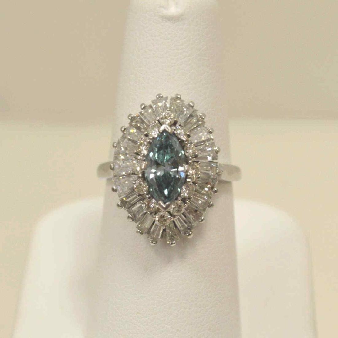 Platinum blue and white diamond cocktail ring