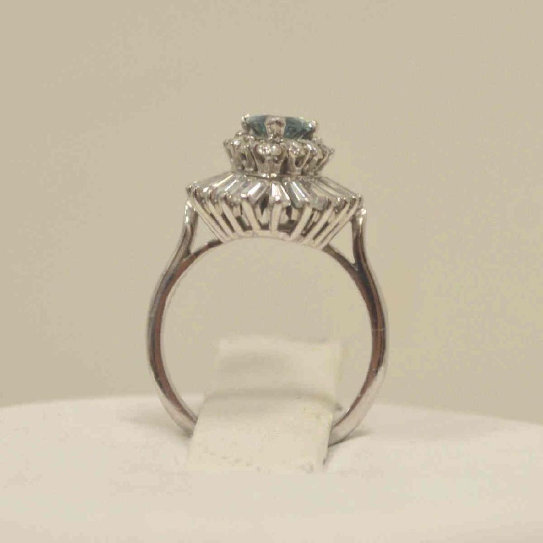 Platinum blue and white diamond cocktail ring - 3