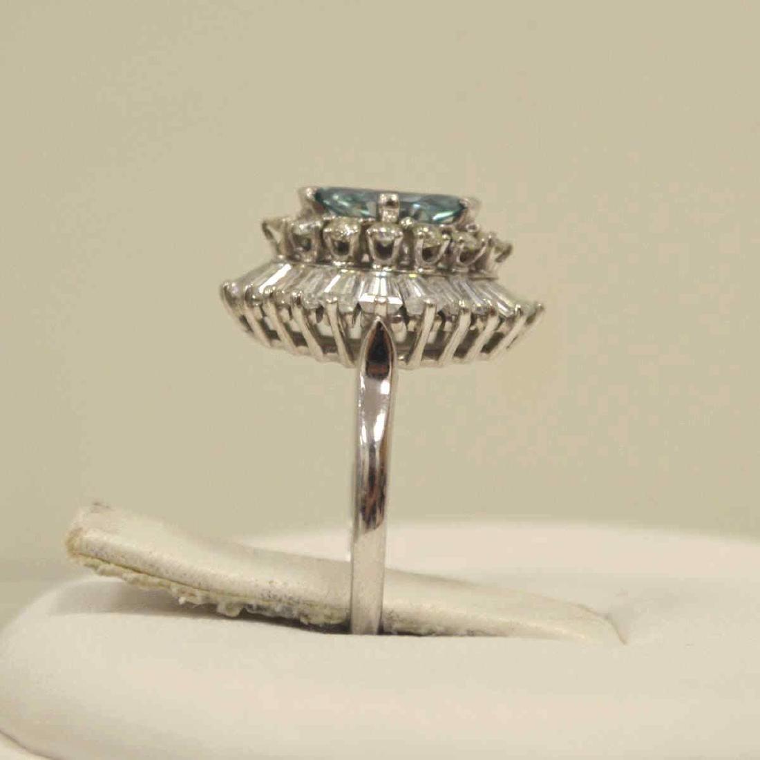 Platinum blue and white diamond cocktail ring - 4