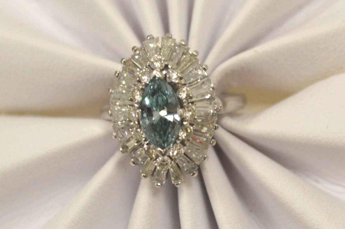 Platinum blue and white diamond cocktail ring - 5