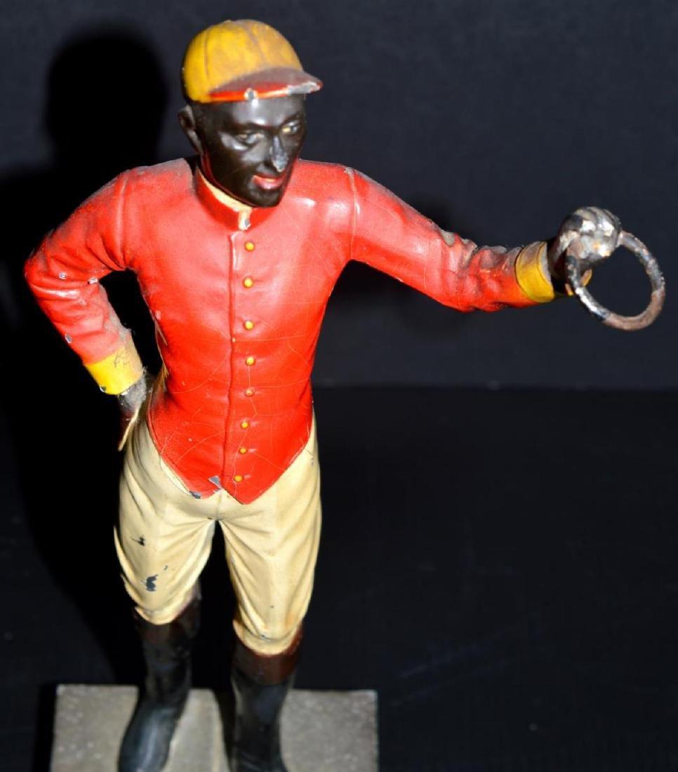 Cast Iron Lawn Jockey Vintage Type Statuette - 2