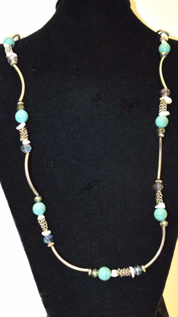 Sterling silver blue and crystal bead necklace