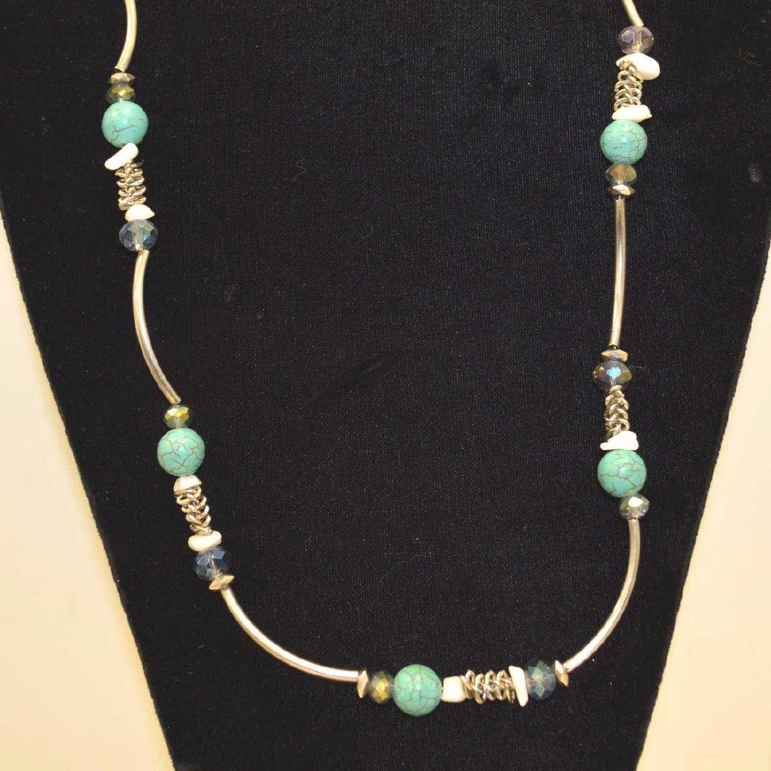 Sterling silver blue and crystal bead necklace - 2