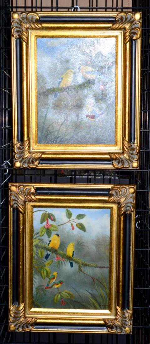 Pair Original Oil on Canvas Framed Bird Paintings