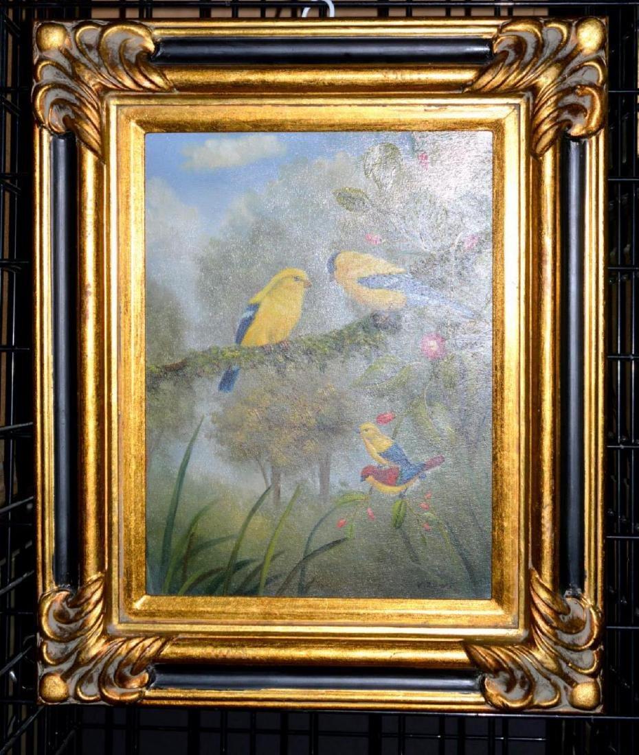 Pair Original Oil on Canvas Framed Bird Paintings - 2