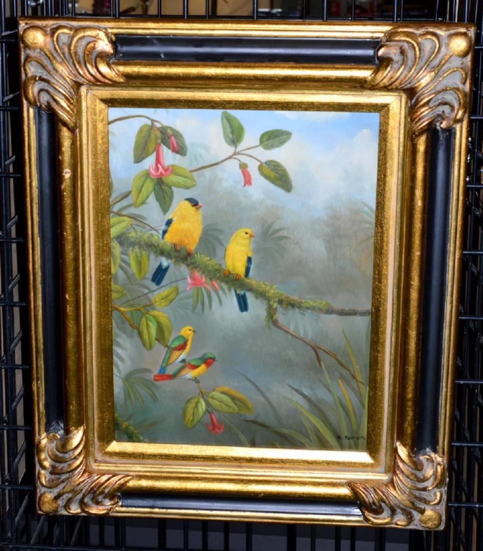 Pair Original Oil on Canvas Framed Bird Paintings - 5