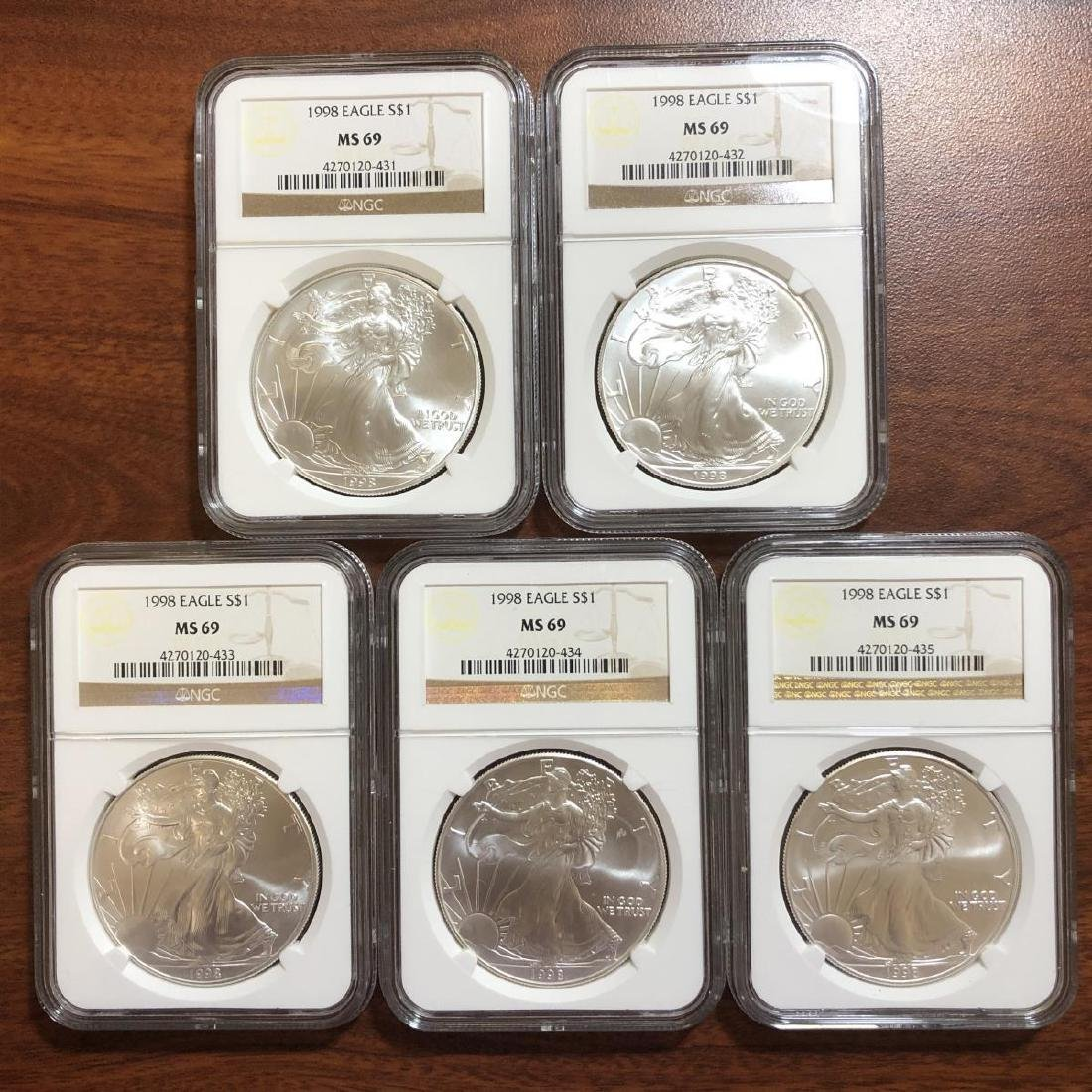 5-pc 1998 Silver Eagle Investor Lot NGC MS69