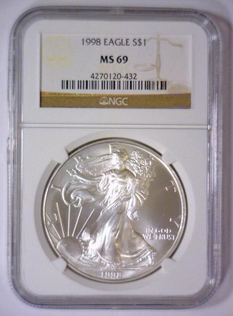 5-pc 1998 Silver Eagle Investor Lot NGC MS69 - 3