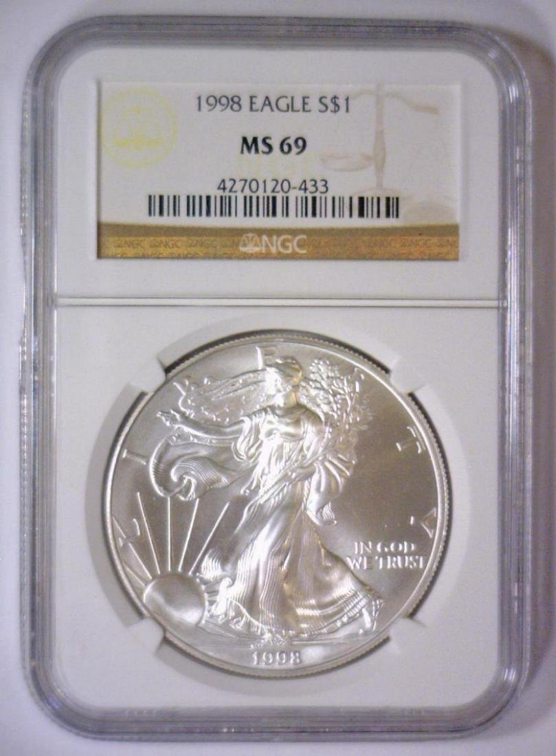 5-pc 1998 Silver Eagle Investor Lot NGC MS69 - 4