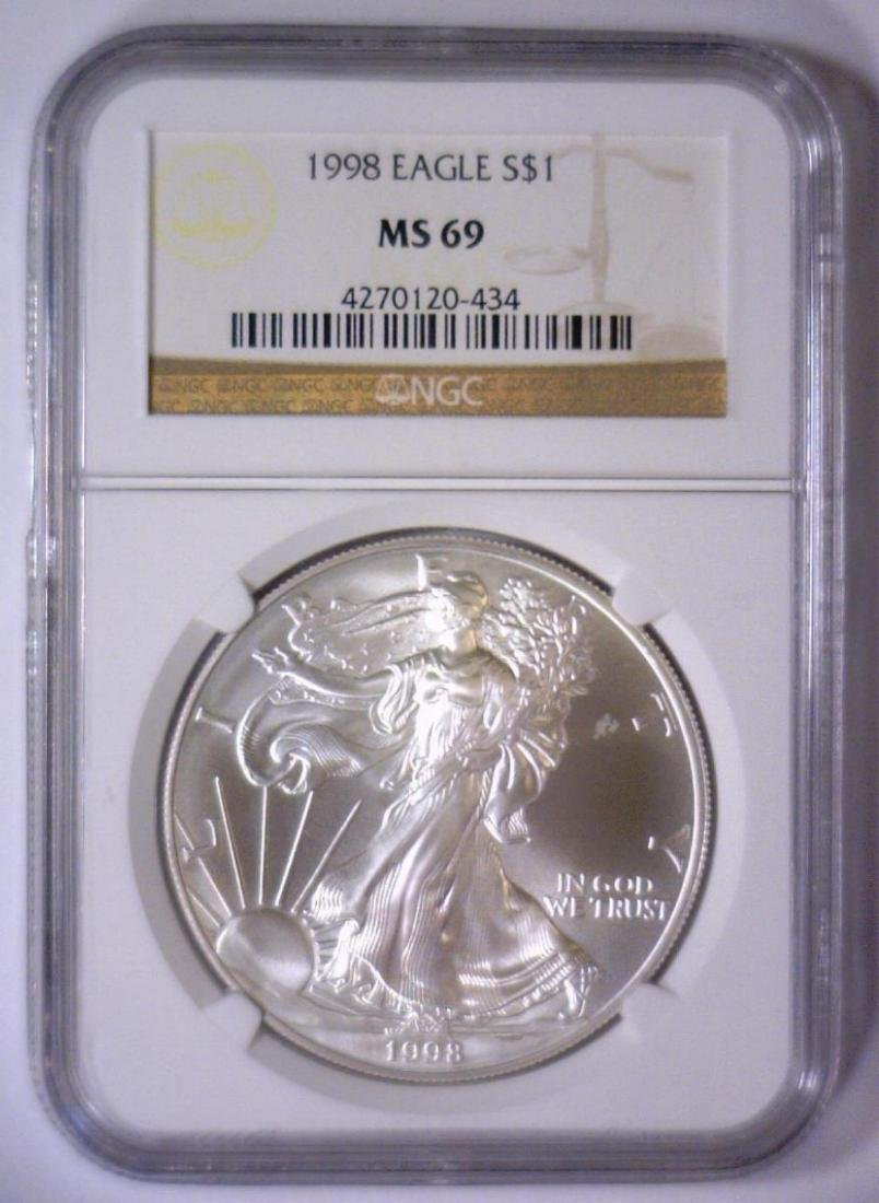 5-pc 1998 Silver Eagle Investor Lot NGC MS69 - 5