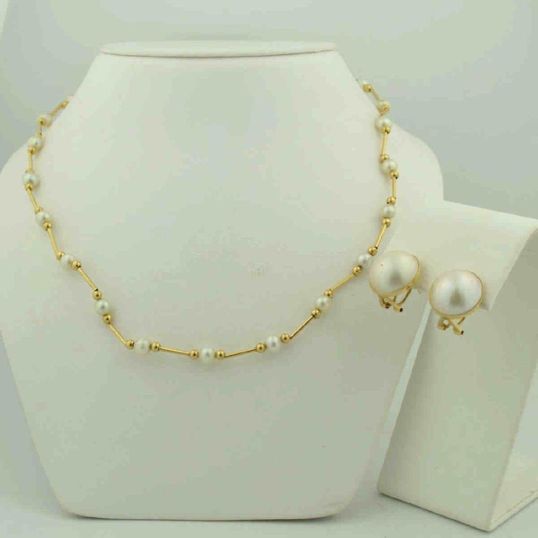 14kt gold and sterling pearl jewelry lot
