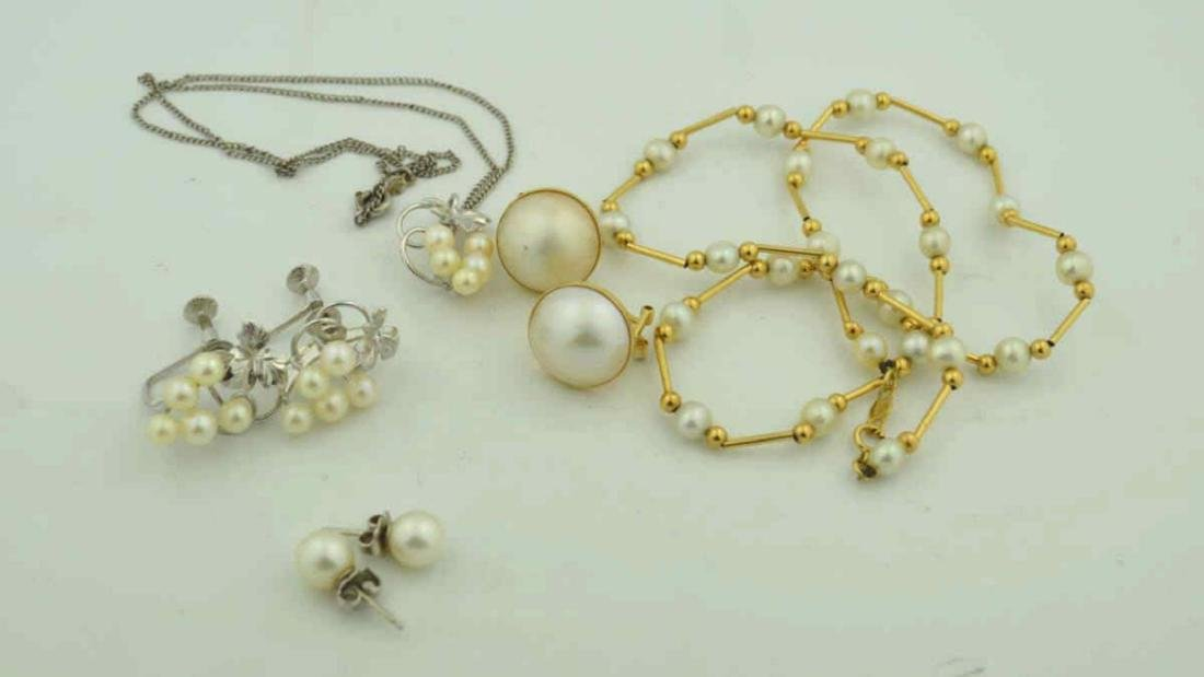 14kt gold and sterling pearl jewelry lot - 4