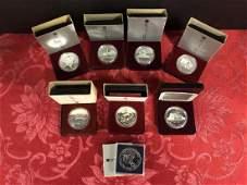 Lot of 8 Silver Commem. Dollars Canada 1979-87