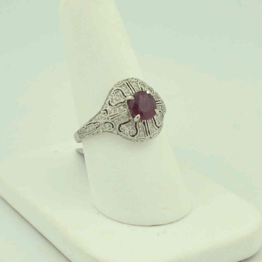 Platinum ruby and diamond ring - 2
