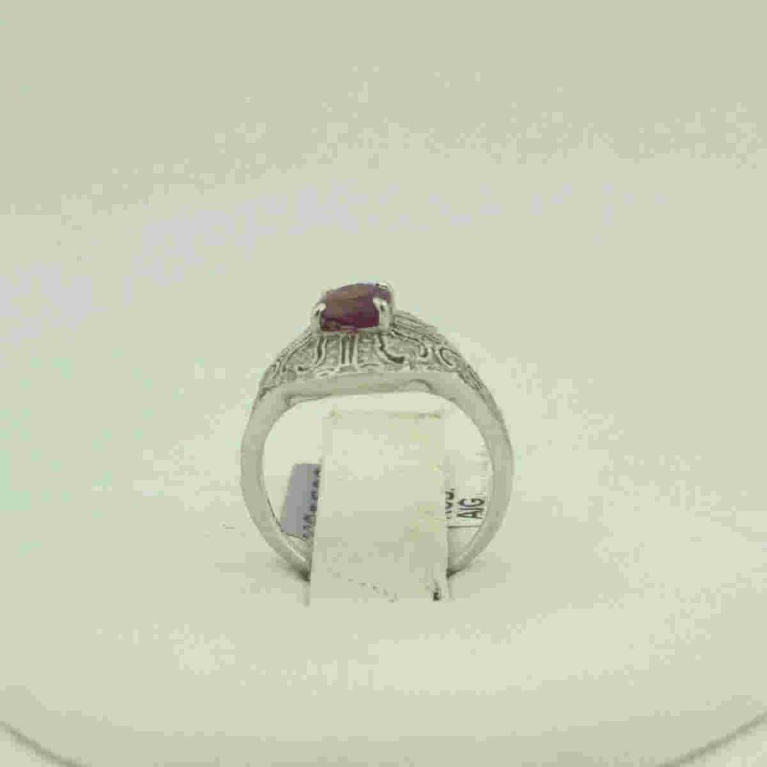 Platinum ruby and diamond ring - 3