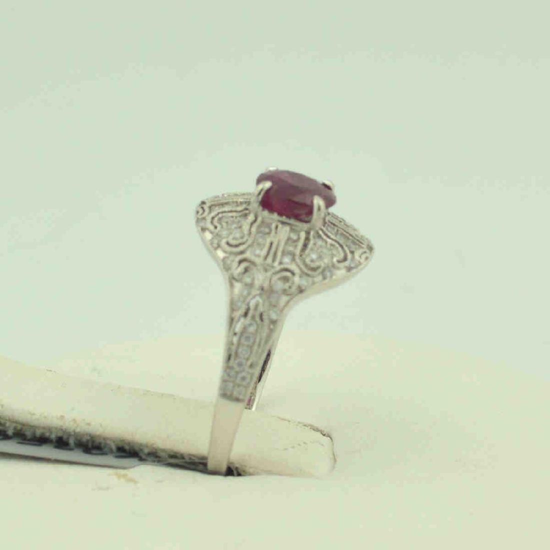 Platinum ruby and diamond ring - 4