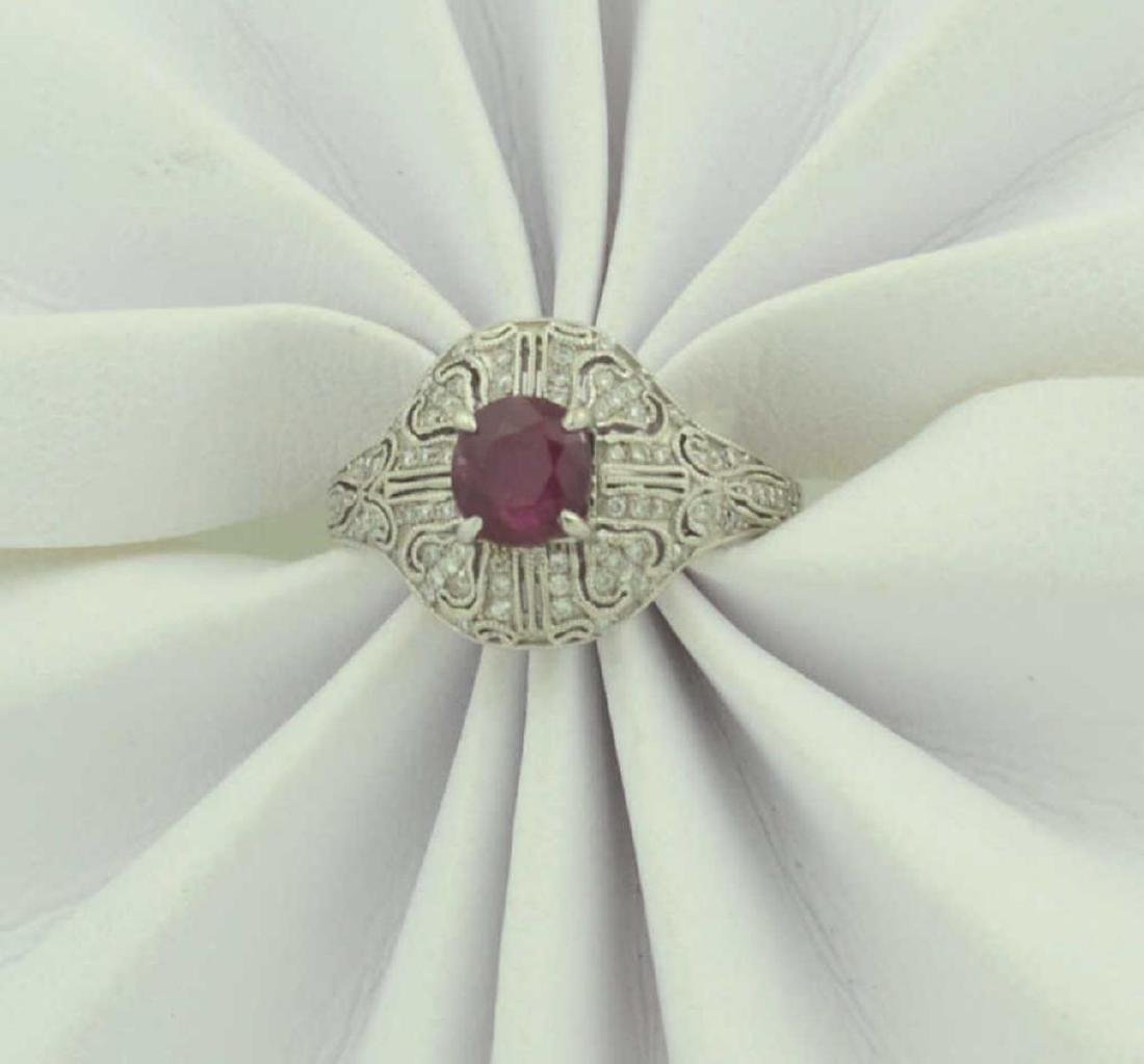Platinum ruby and diamond ring - 5