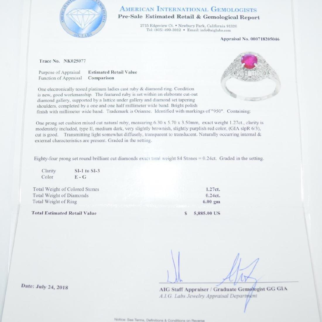 Platinum ruby and diamond ring - 6
