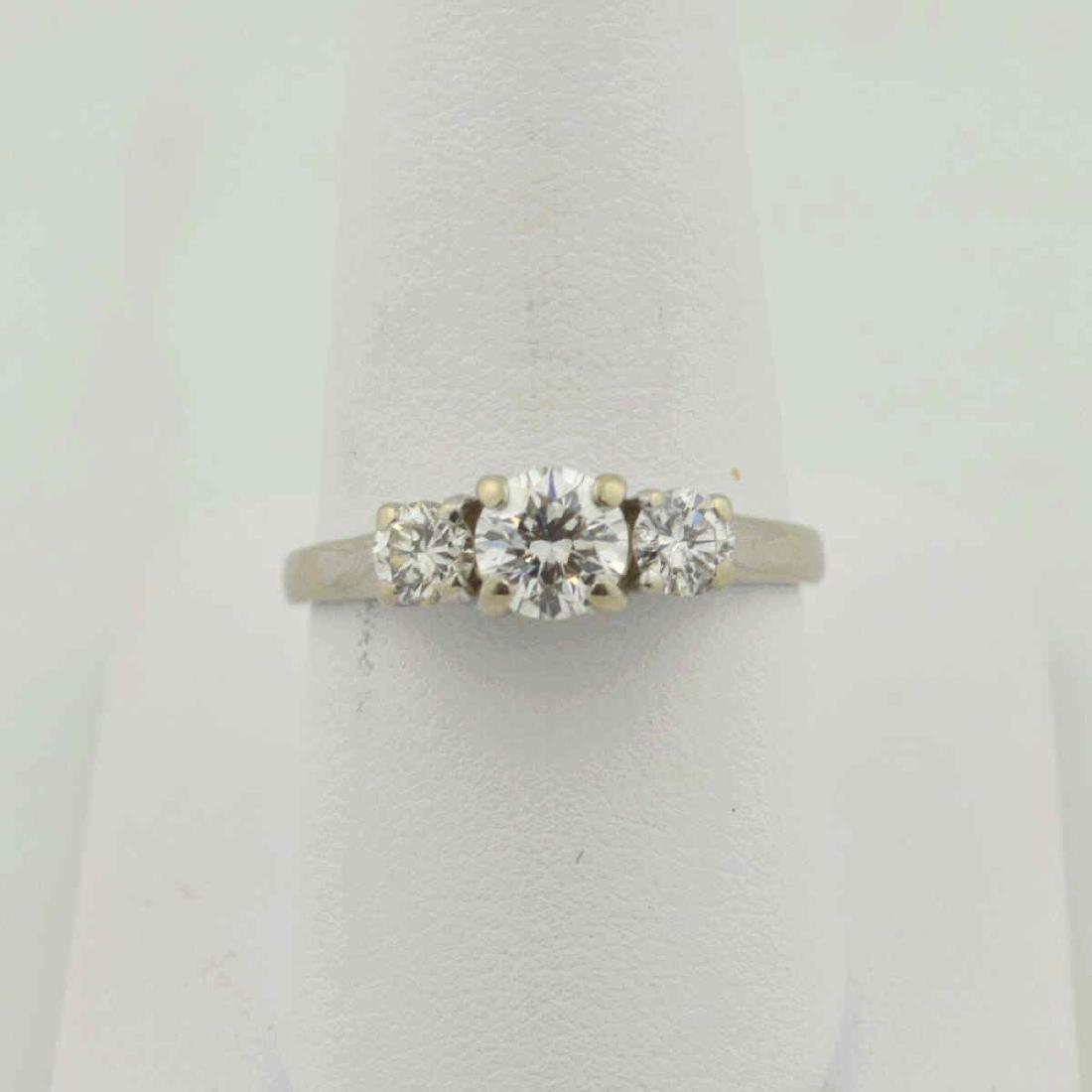 14kt white gold 3 stone diamond ring