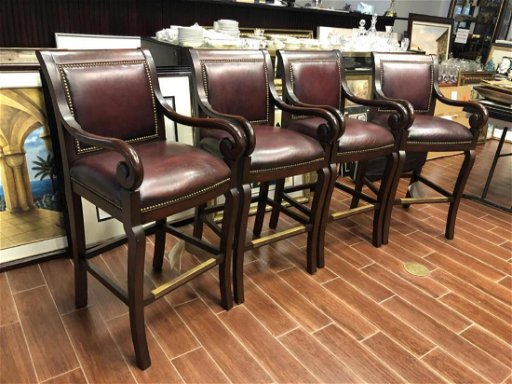 Enjoyable Set Of 4 Hancock Moore Fine Leather Bar Stools Gmtry Best Dining Table And Chair Ideas Images Gmtryco